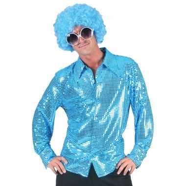 Carnaval kleding blauwe pailletten overhemd voor heren