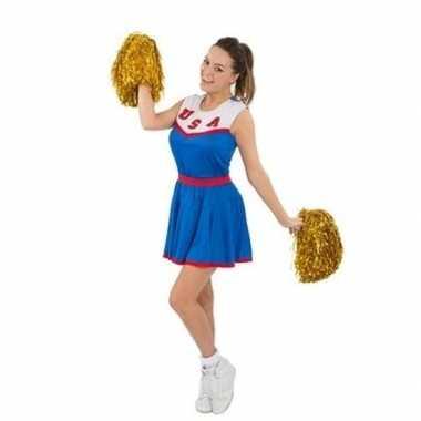 Carnaval kleding cheerleadersjurkje met pom poms