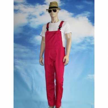 Carnaval kleding fuchsia tuinbroek voor volwassenen