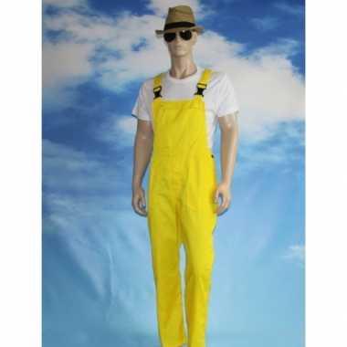 Carnaval kleding gele tuinbroek voor volwassenen