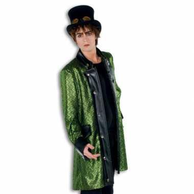 Carnaval kleding groene heren jas