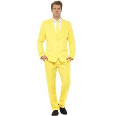 Carnaval kleding heren kostuum geel