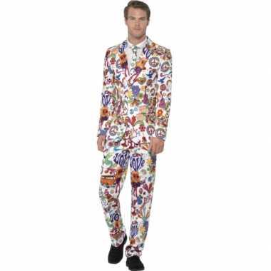 Carnaval kleding heren kostuum hippie print
