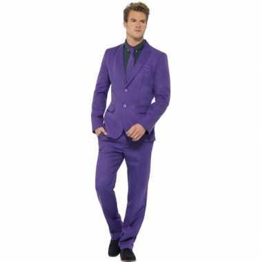 Carnaval kleding heren kostuum paars