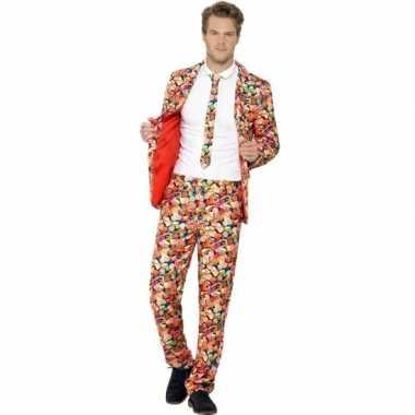 Carnaval kleding heren kostuum snoepgoed