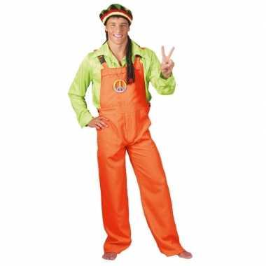Carnaval kleding neon oranje tuinbroek voor volwassenen