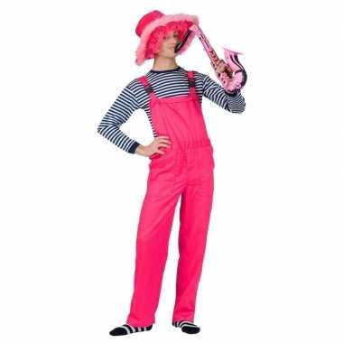 Carnaval kleding neon roze tuinbroek voor volwassenen
