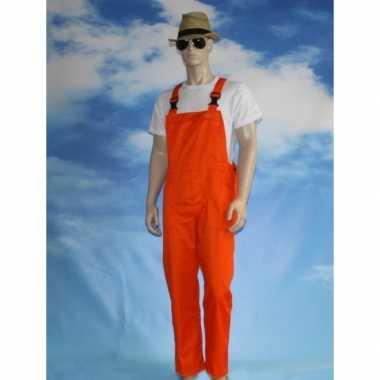 Carnaval kleding oranje tuinbroek voor volwassenen
