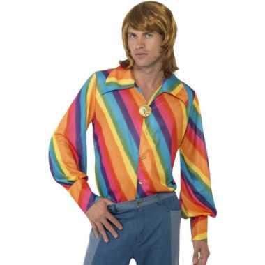 Carnaval kleding regenboog blouse