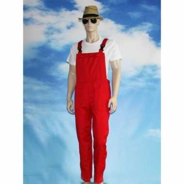 Carnaval kleding rode tuinbroek voor volwassenen