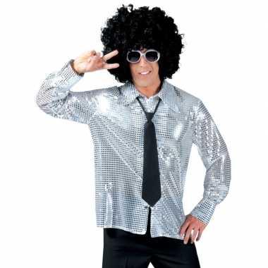 Carnaval kleding zilveren pailletten overhemd voor heren