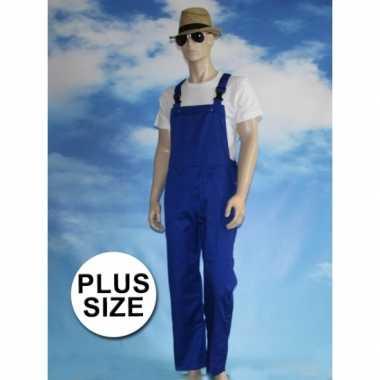 Grote maten blauwe tuinbroek carnaval kleding voor volwassenen