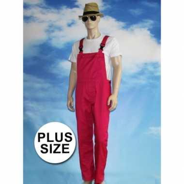 Grote maten fuchsia tuinbroek carnaval kleding voor volwassenen
