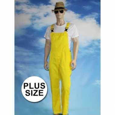 Grote maten gele tuinbroek carnaval kleding voor volwassenen