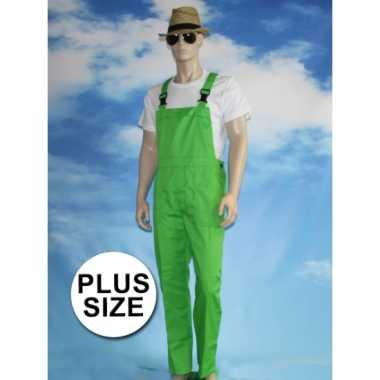 Grote maten groene tuinbroek carnaval kleding voor volwassenen