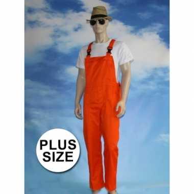 Grote maten oranje tuinbroek carnaval kleding voor volwassenen
