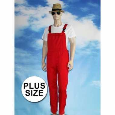 Grote maten rode tuinbroek carnaval kleding voor volwassenen
