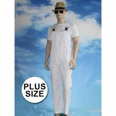 Grote maten witte tuinbroek carnaval kleding voor volwassenen