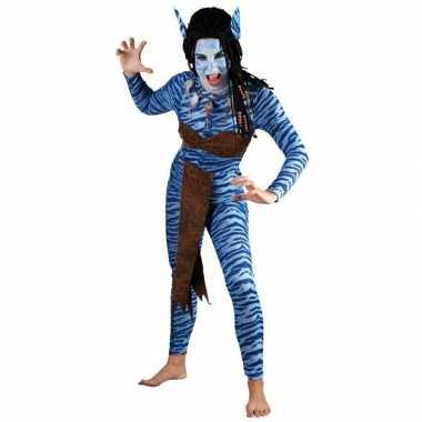 Vrouwen carnaval kleding blauwe jungle strijdster