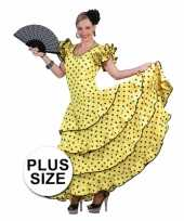 Grote maat carnaval kleding geel flamencojurk